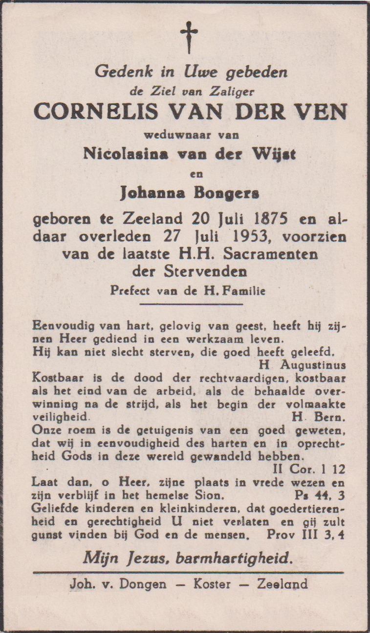 Bidprentje CornelisVen
