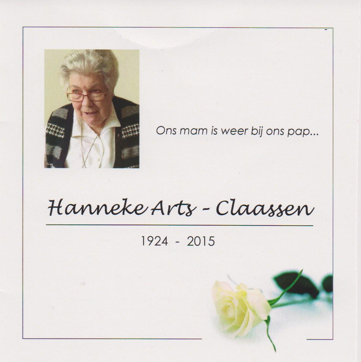 Bidprentje HannekeClaassen