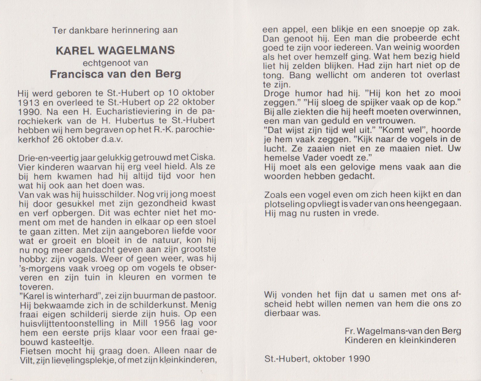 Bidprentje KarelWagelmans