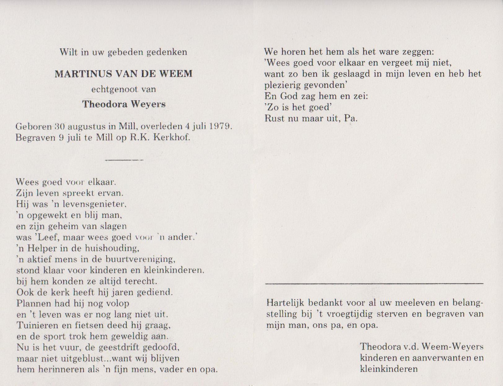 Bidprentje MartinusWeem