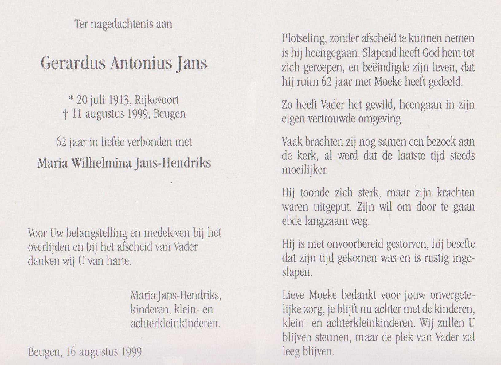 Bidprentje Gerardus AntoniusJans