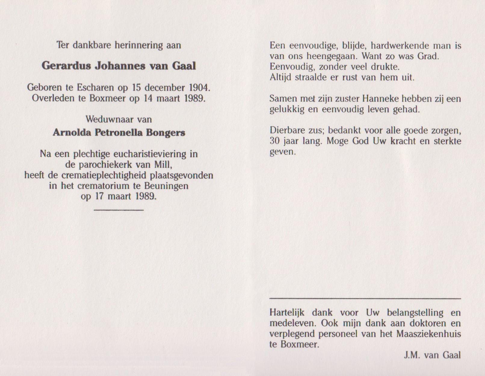 Bidprentje Gerardus JohannesGaal