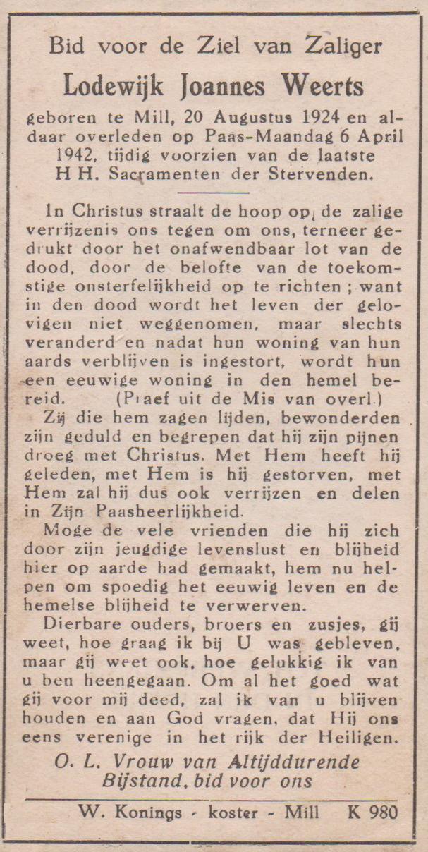 Bidprentje Lodewijk JoannesWeerts