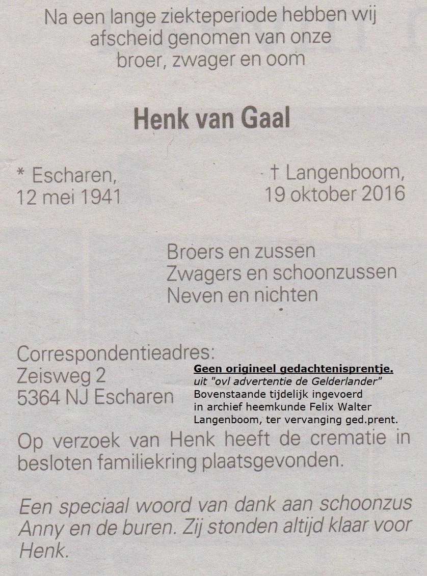 Bidprentje HenkGaal