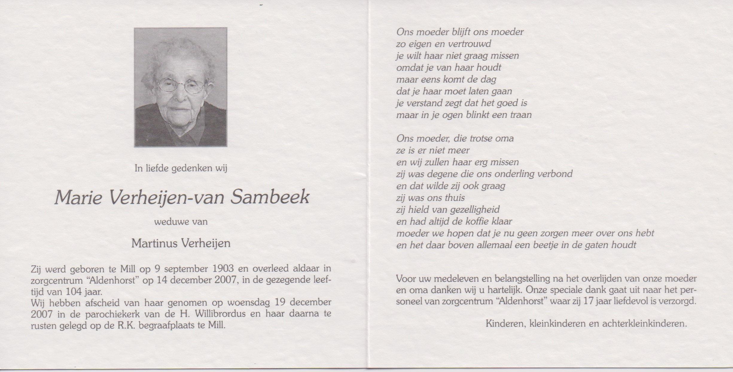 Bidprentje MarieSambeek