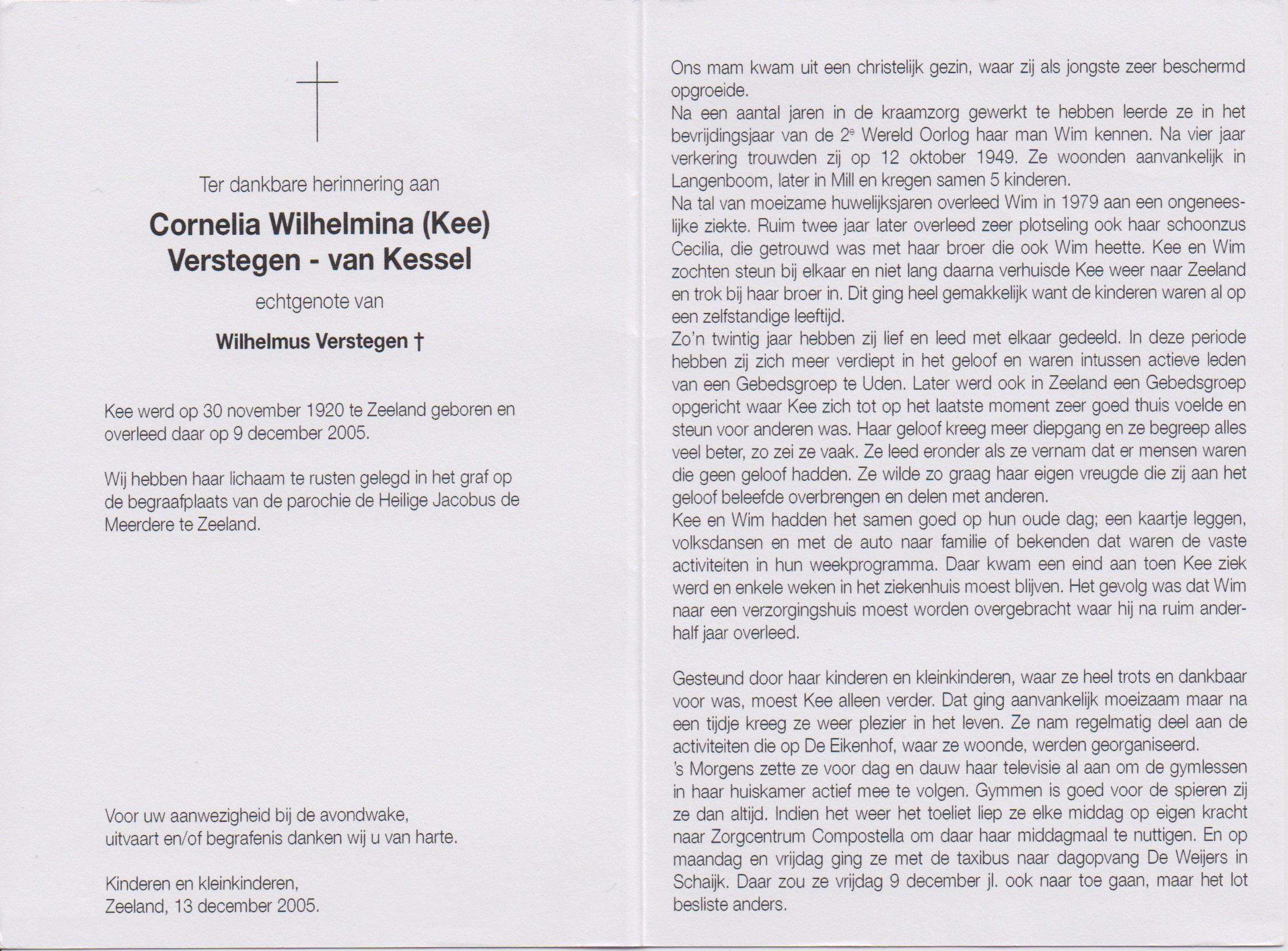 Bidprentje Cornelia WilhelminaKessel