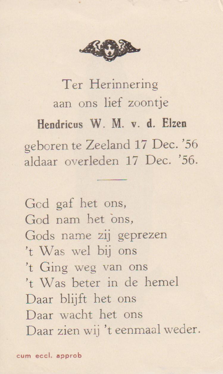 Bidprentje Hendricus W. M.(Henkie)Elzen