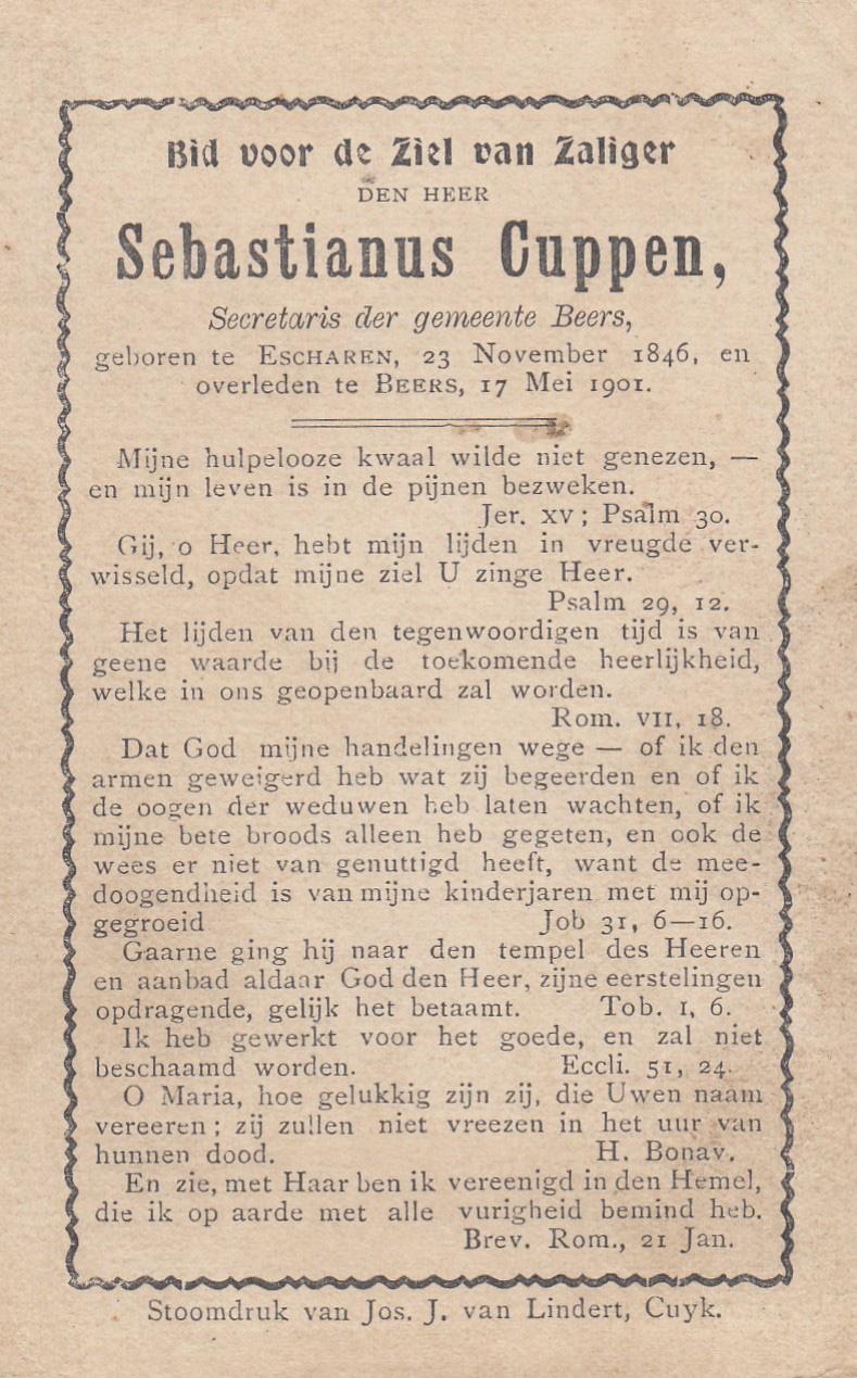 Bidprentje SebastianusCuppen