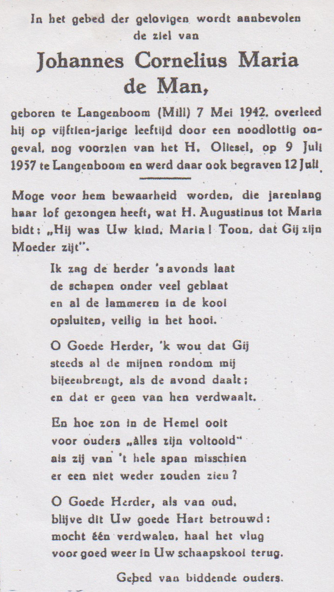 Bidprentje Johannes Cornelis MariaMan