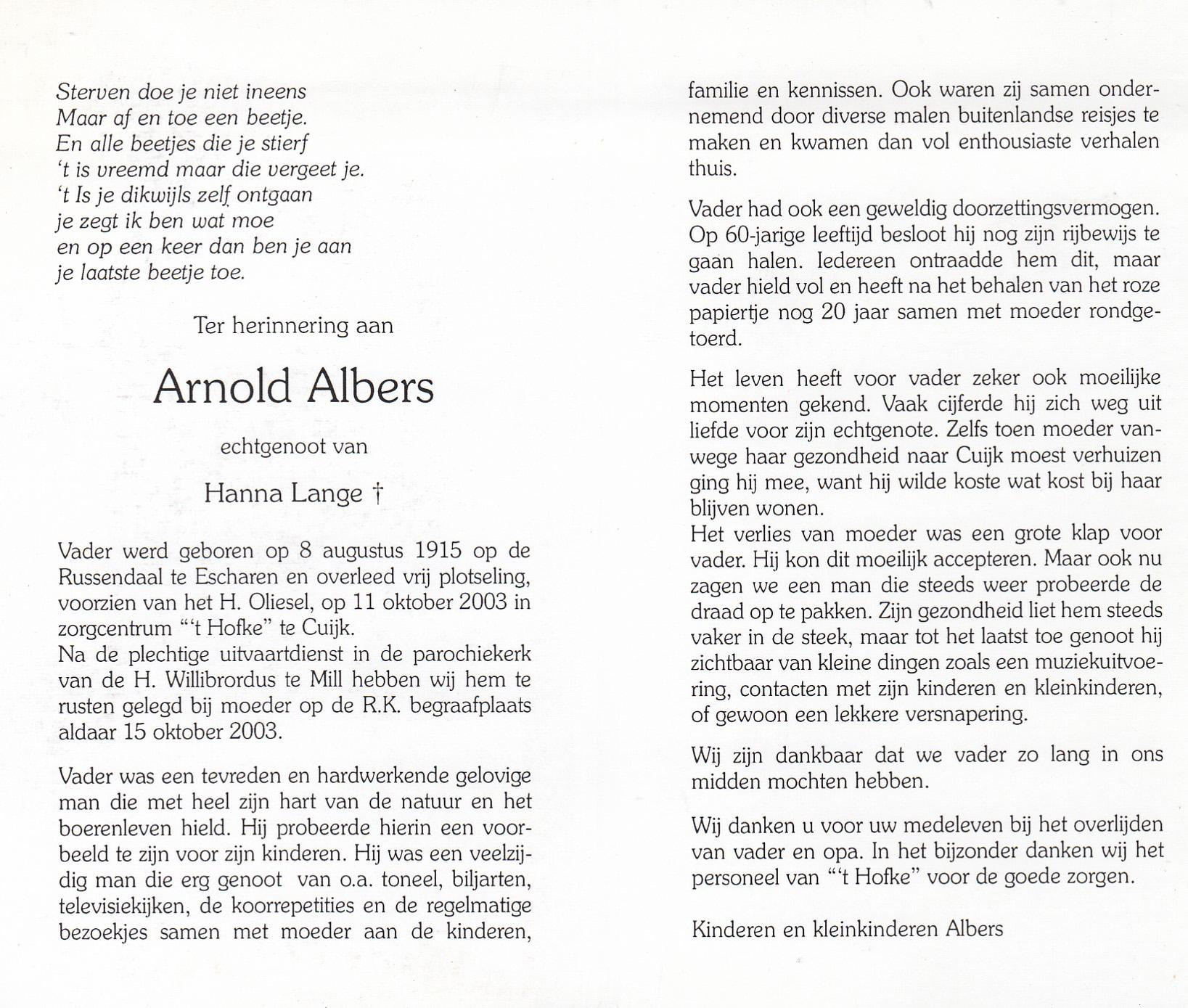 Bidprentje ArnoldAlbers