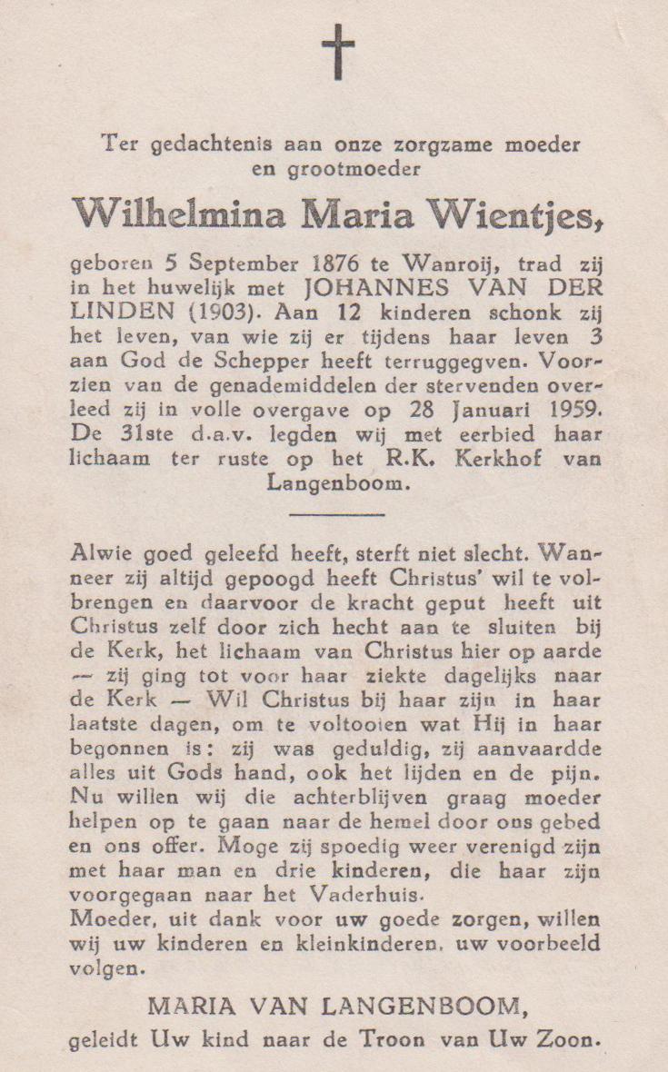 Bidprentje Wilhelmina MariaWientjes