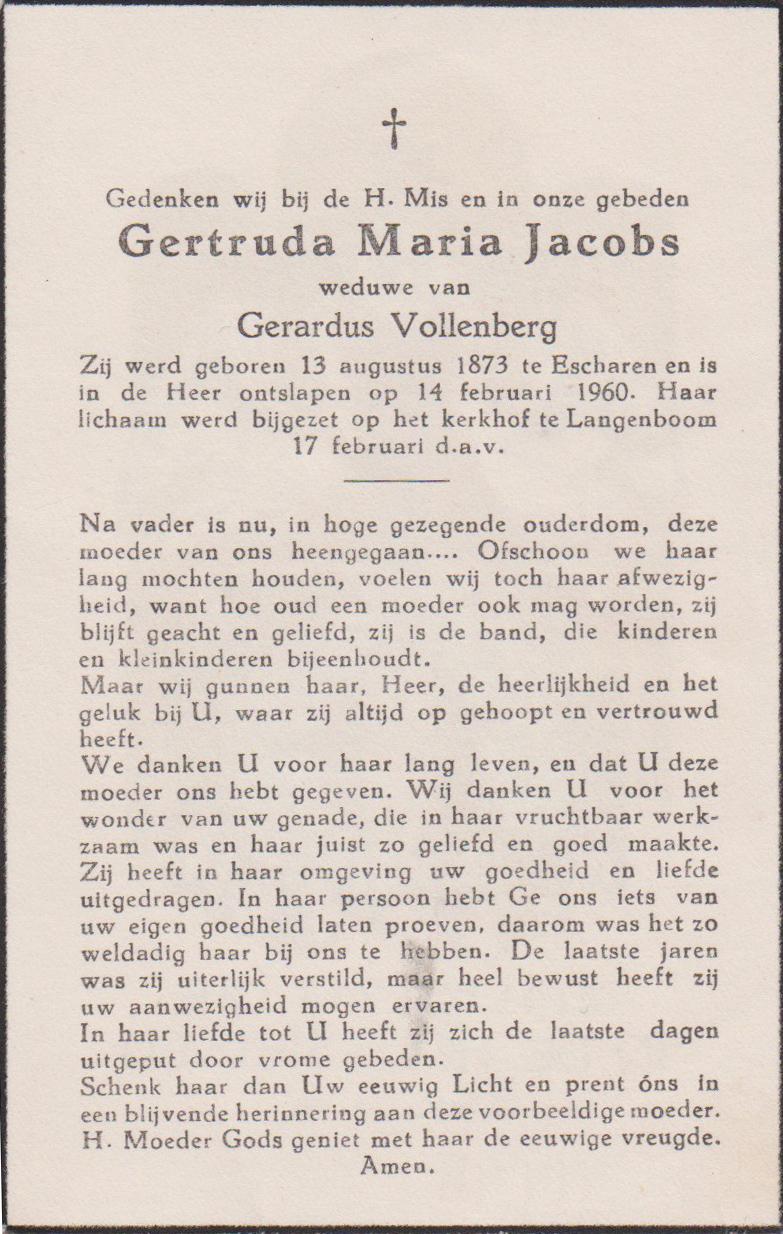 Bidprentje Gertruda MariaJacobs
