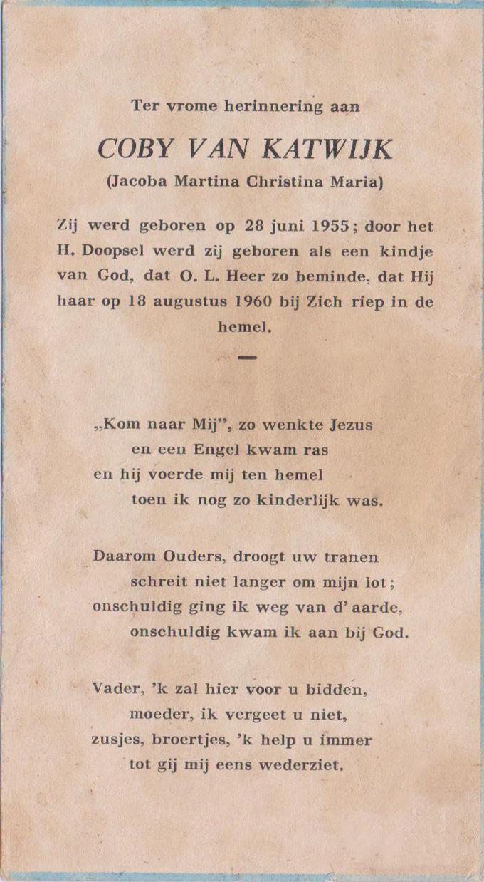Bidprentje Jacoba Martina Christª MKatwijk