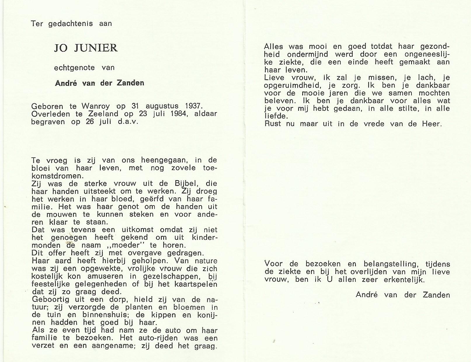 Bidprentje JoJunier