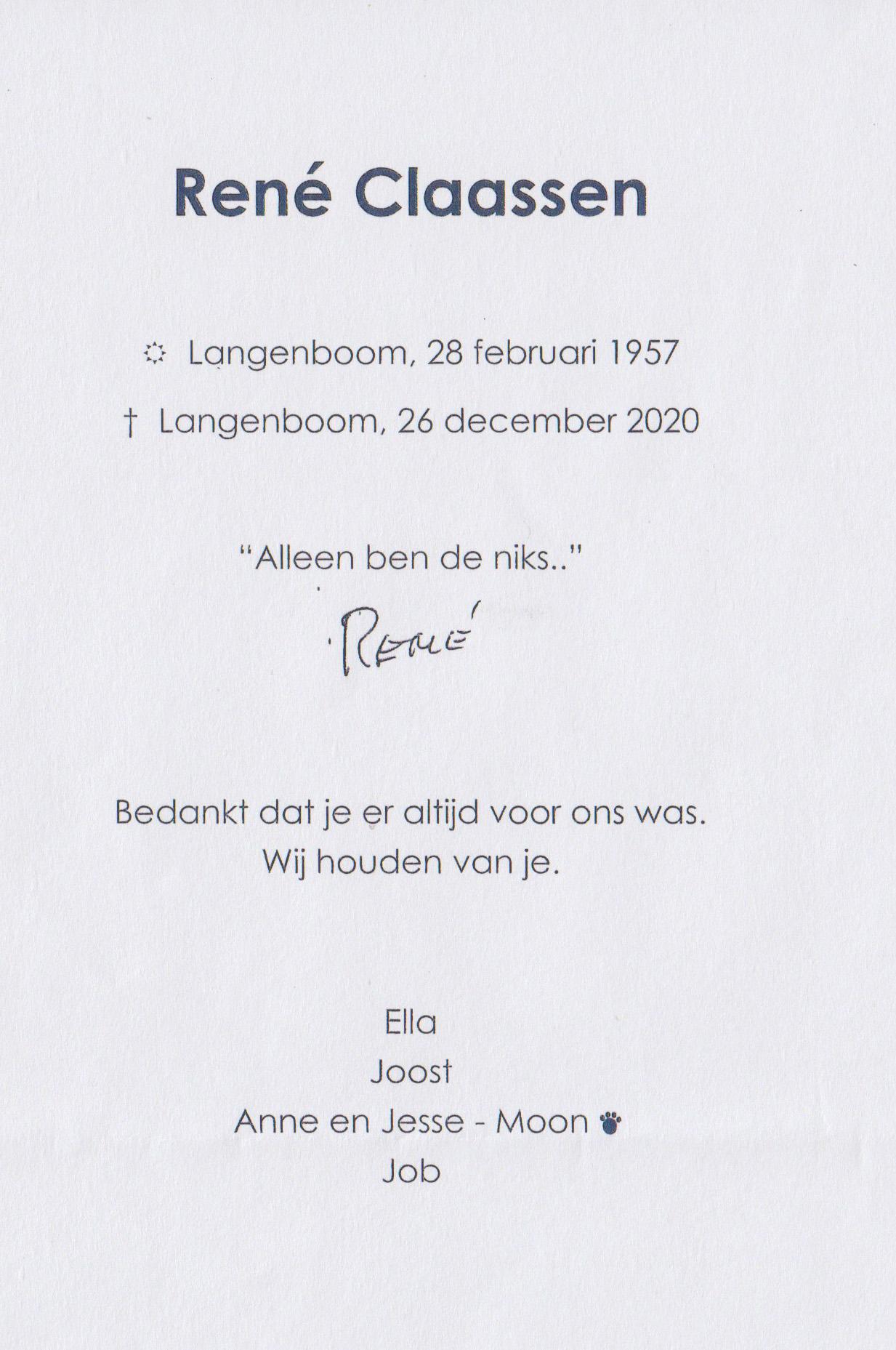 Bidprentje RenéClaassen