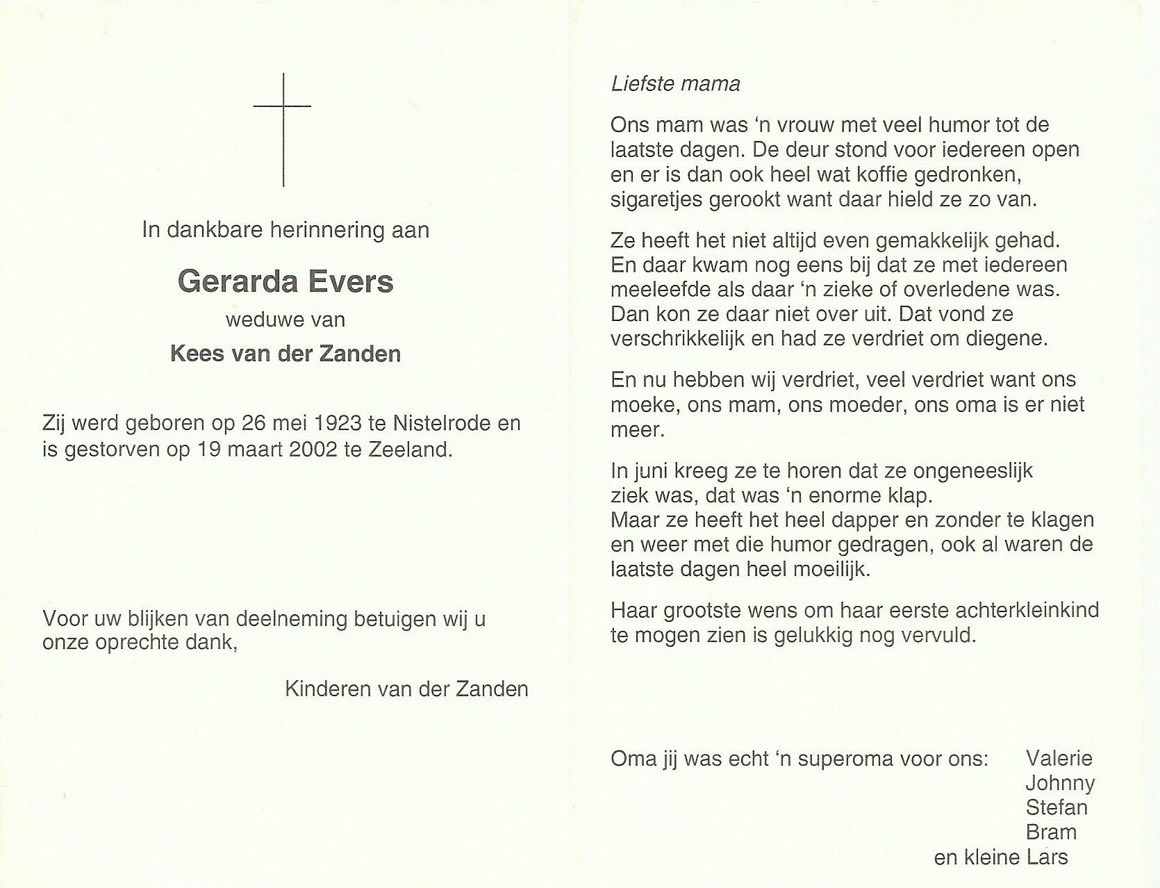 Bidprentje GerardaEvers