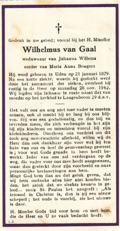 Bidprentje WilhelmusGaal