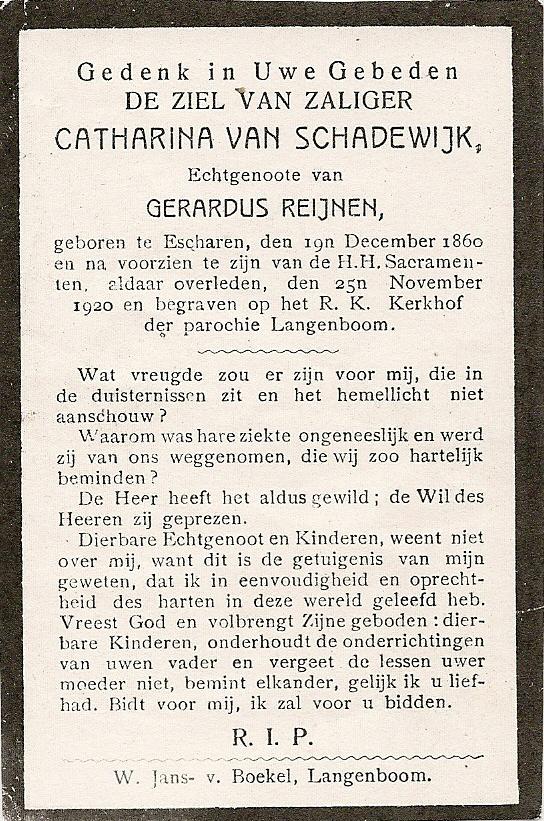 Bidprentje CatharinaSchadewijk