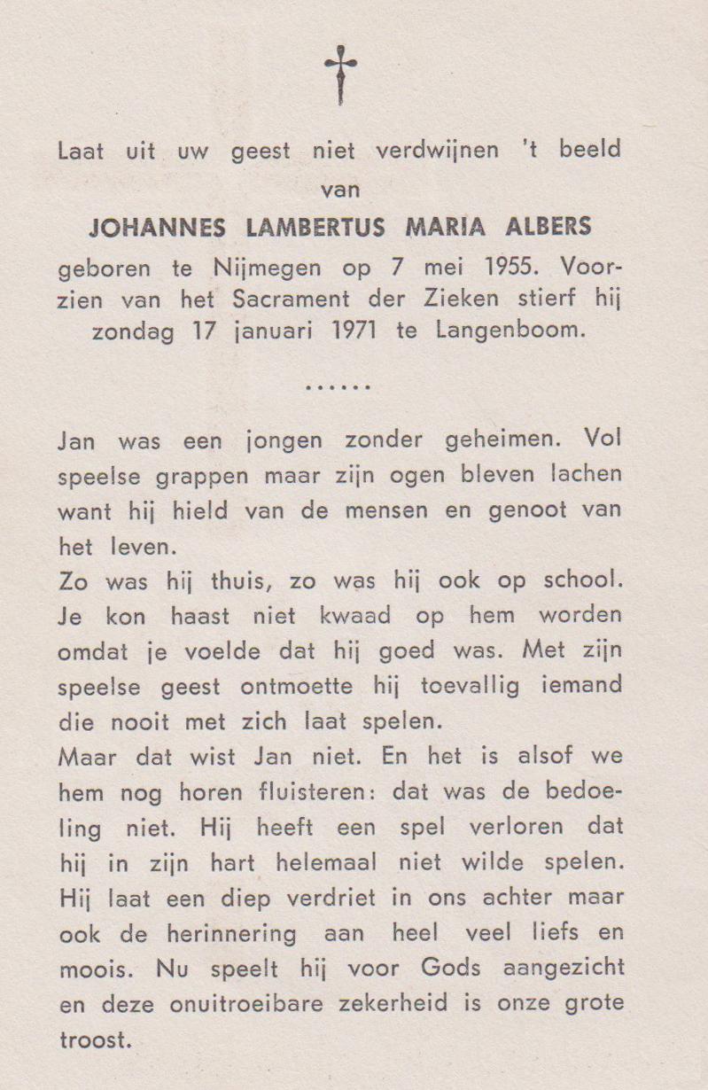 Bidprentje Joannes Lambertus MariaAlbers
