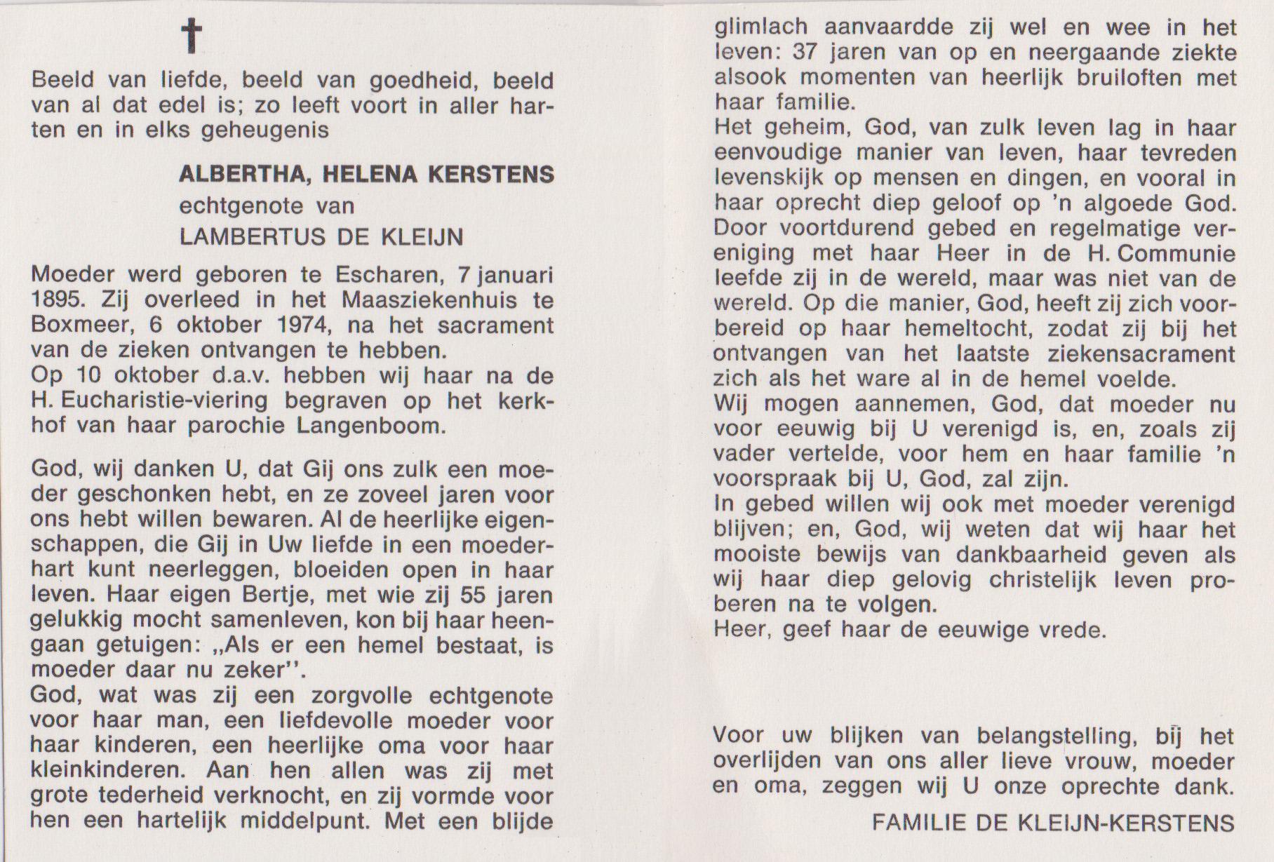 Bidprentje Albertha HelenaKerstens