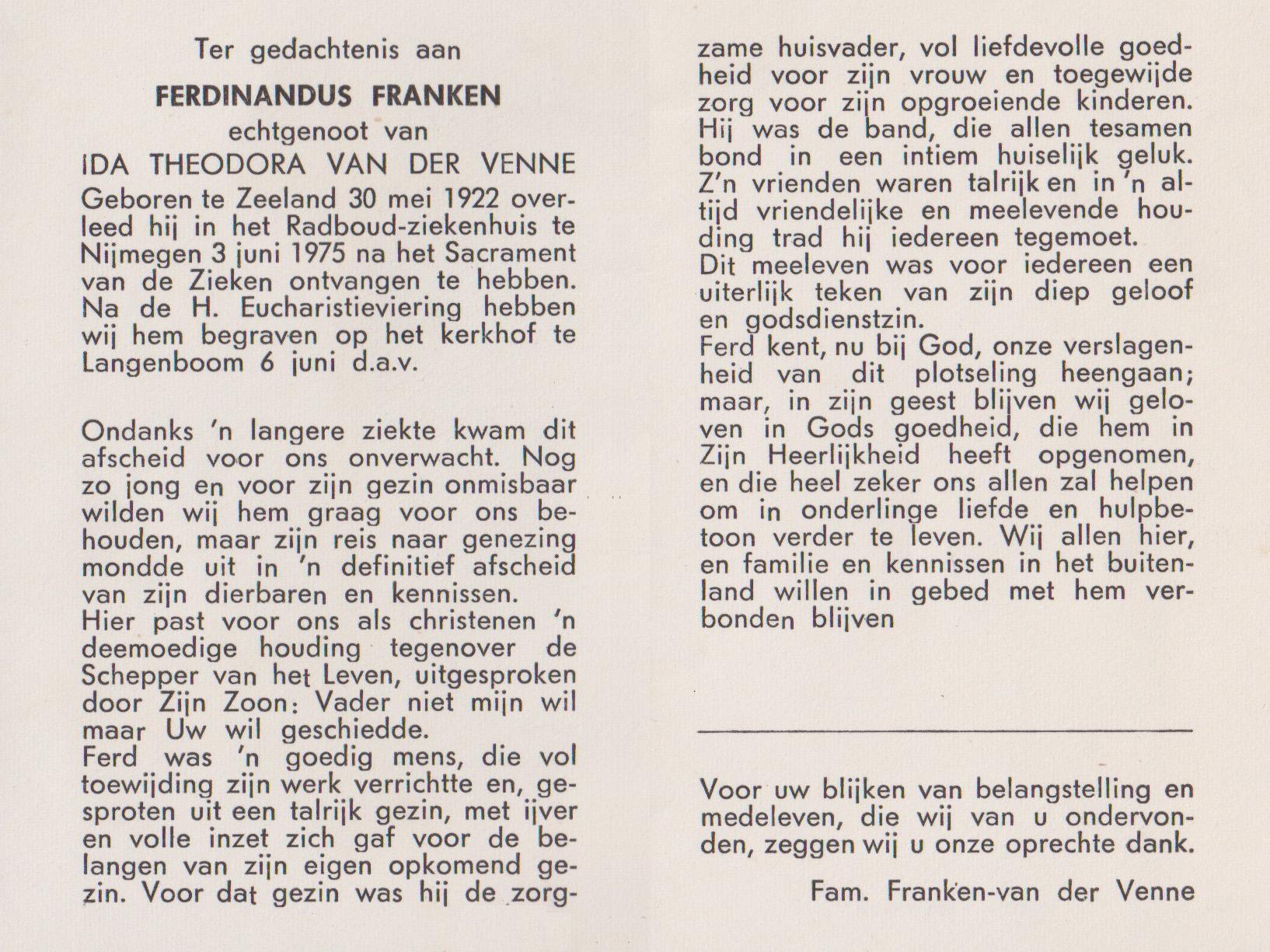 Bidprentje FerdinandusFranken