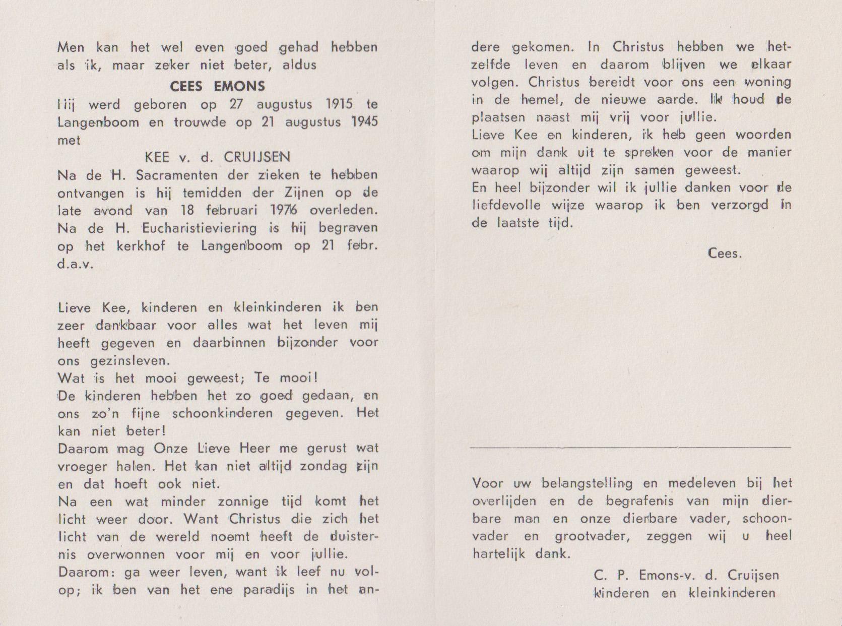Bidprentje Cornelis TheodorusEmons
