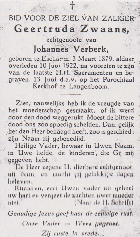 Bidprentje GeertrudaZwaans