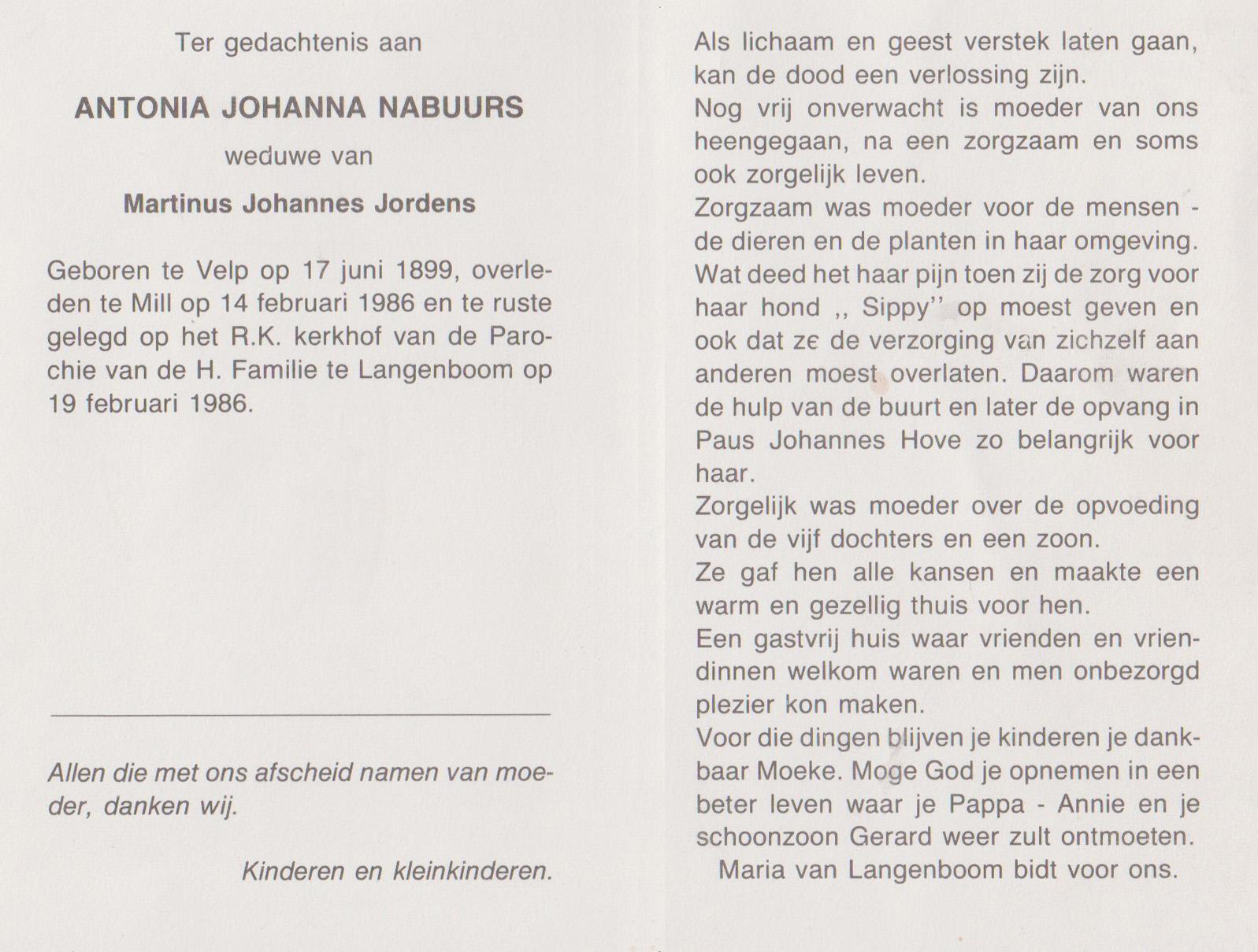 Bidprentje Antonia JohannaNabuurs