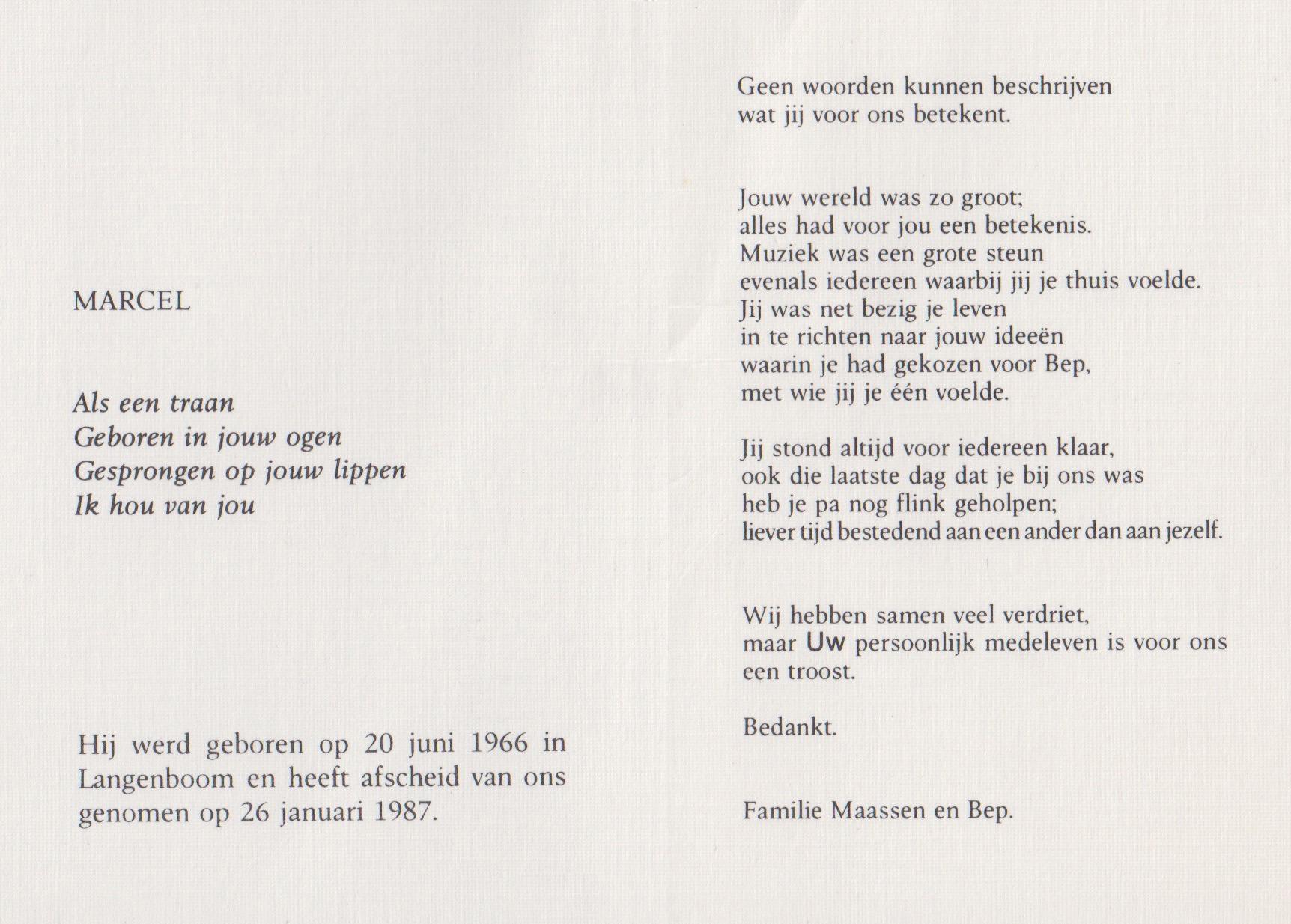 Bidprentje Marcel Gerardus MariaMaassen