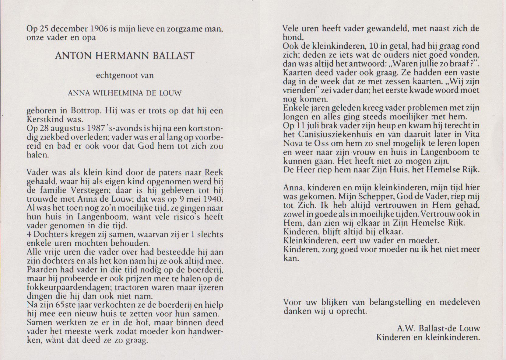 Bidprentje Anton HermanusBallast