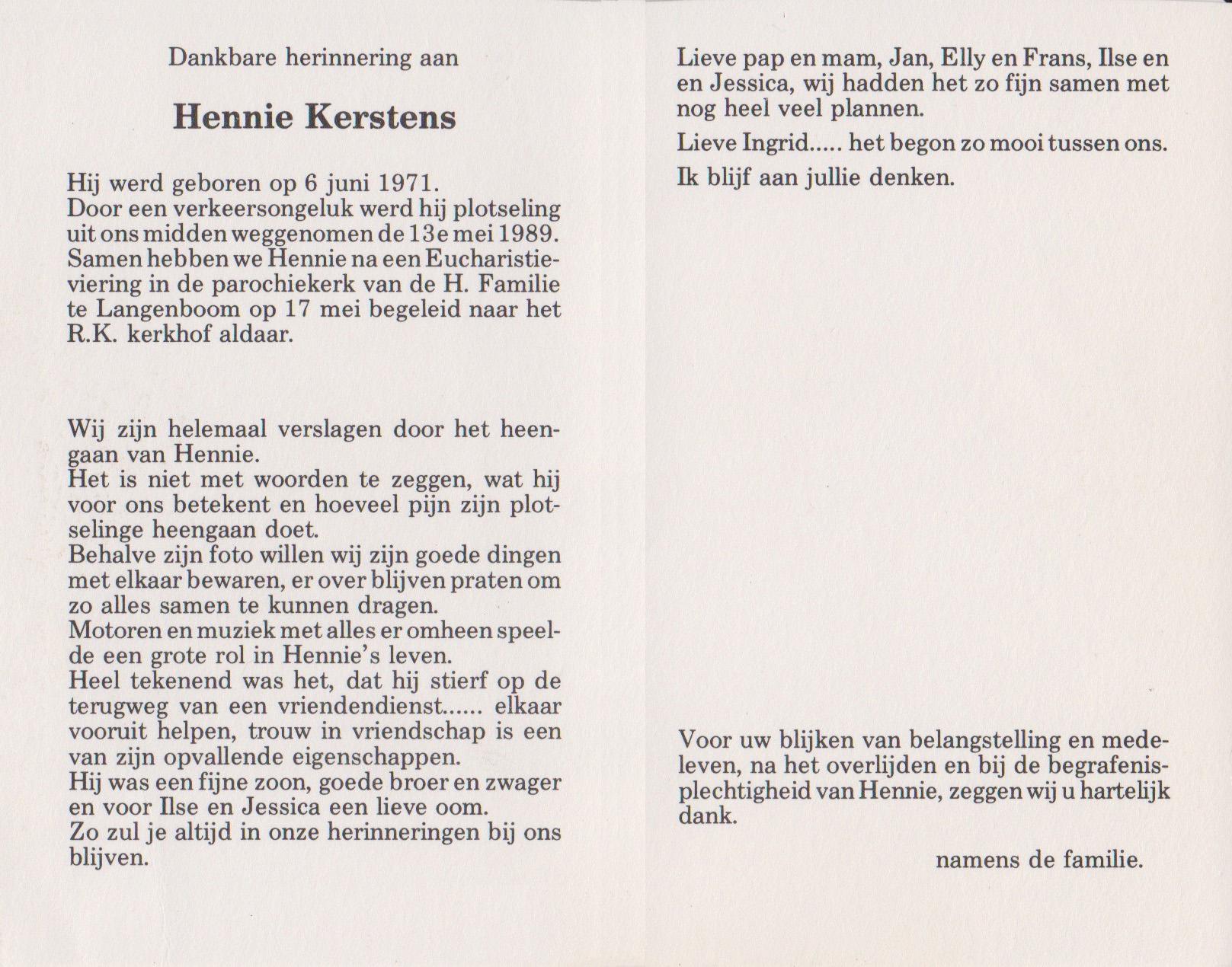 Bidprentje HennieKerstens