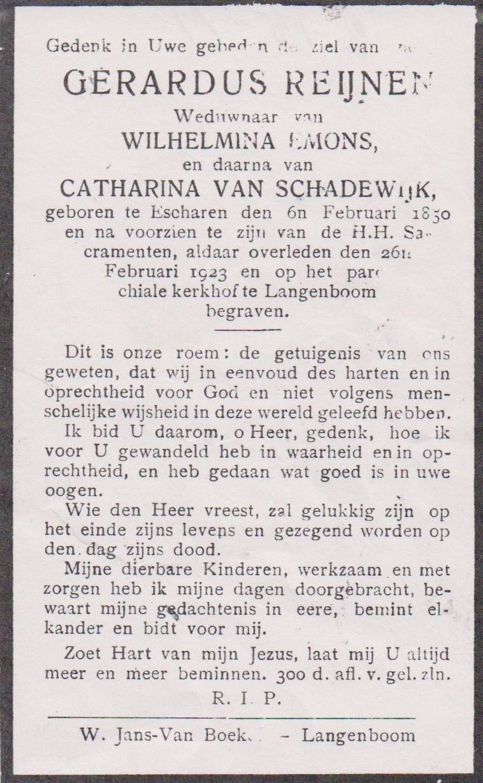 Bidprentje GerardusReijnen