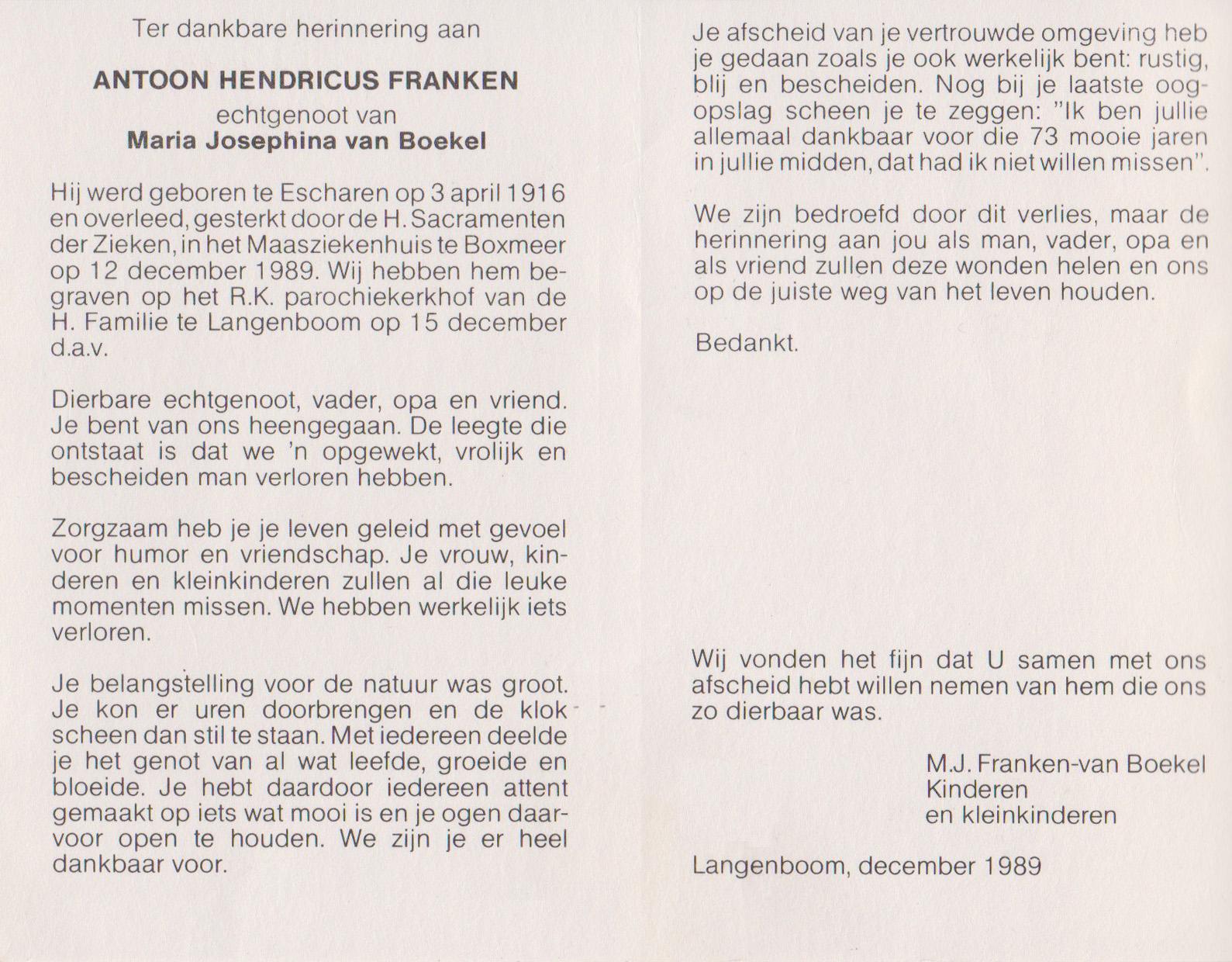 Bidprentje Antoon HendricusFranken