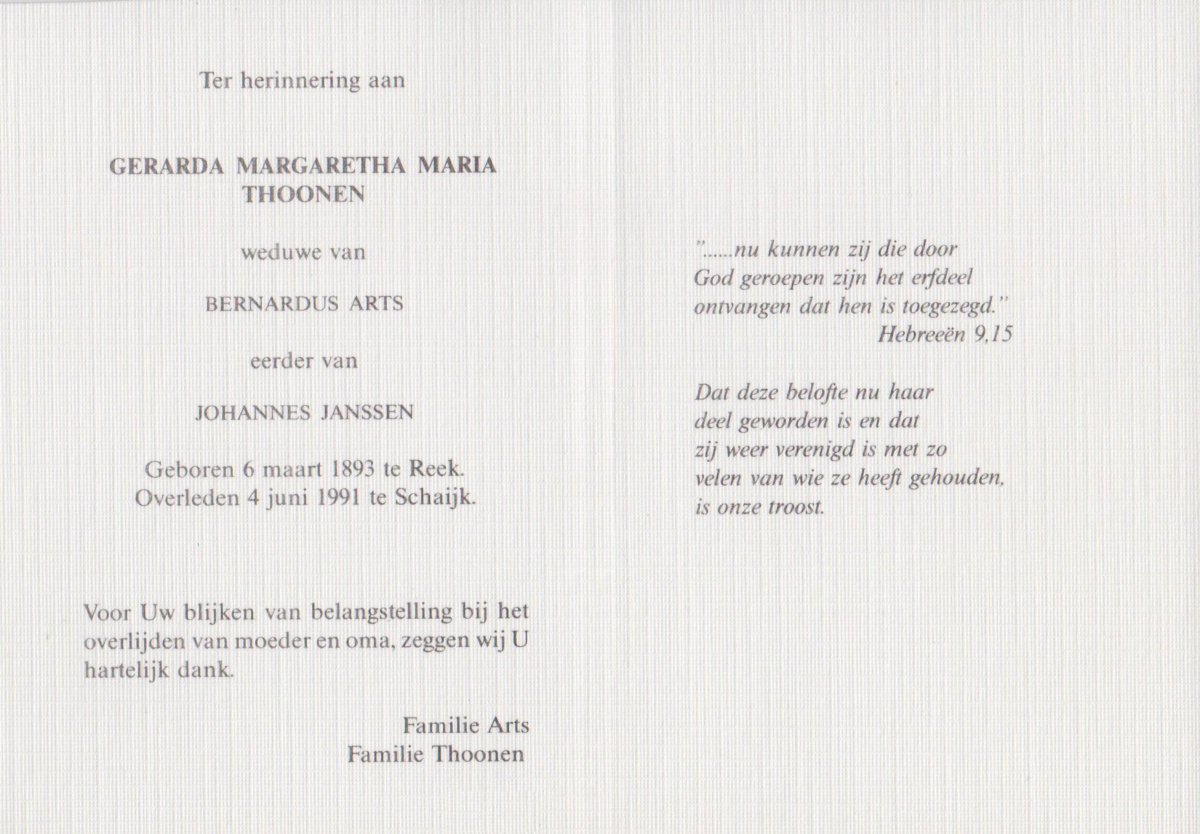 Bidprentje Gerarda Margaretha MariaThoonen