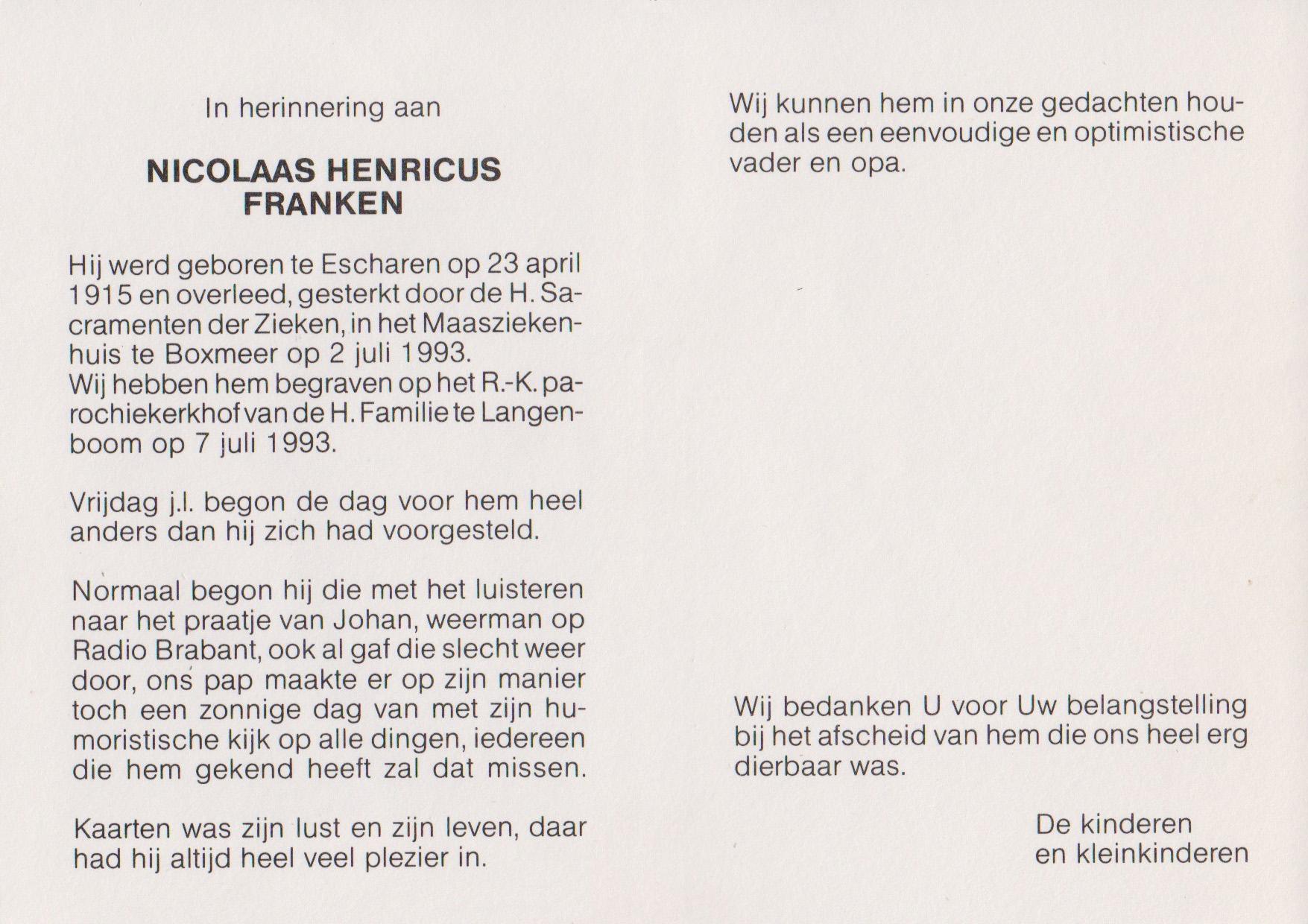 Bidprentje Nicolaas HenricusFranken