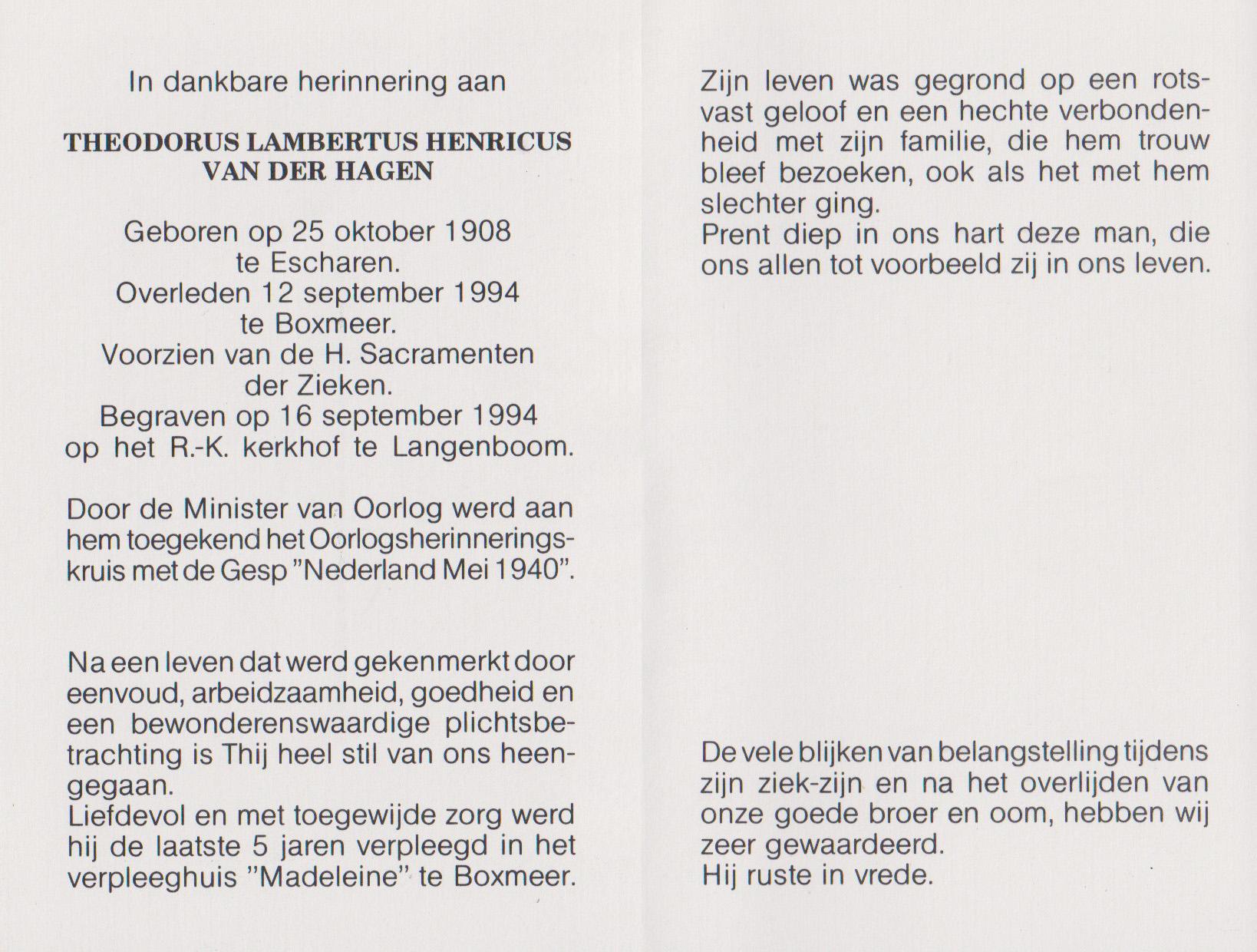 Bidprentje Theodorus Lamb. Henr.Hagen