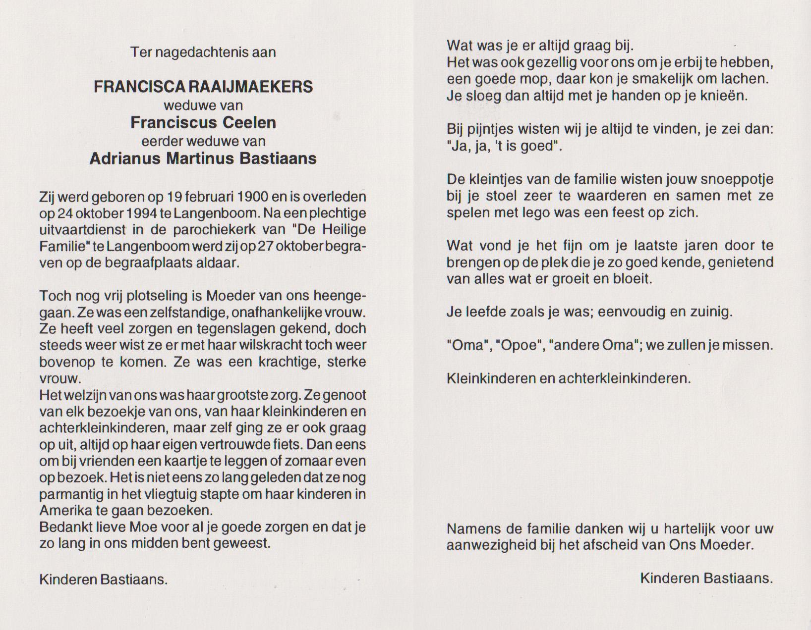 Bidprentje FranciscaRaaijmaekers